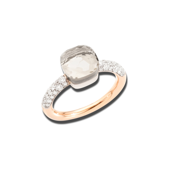 Ring Pomellato Nudo Petit aus 750 Roségold und 750 Weißgold mit 36 Brillanten (0,5 Karat) und 1 Topas bei Brogle