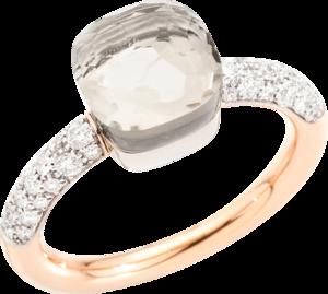 Ring Pomellato Nudo Petit aus 750 Roségold und 750 Weißgold mit 36 Brillanten (0,5 Karat) und 1 Topas