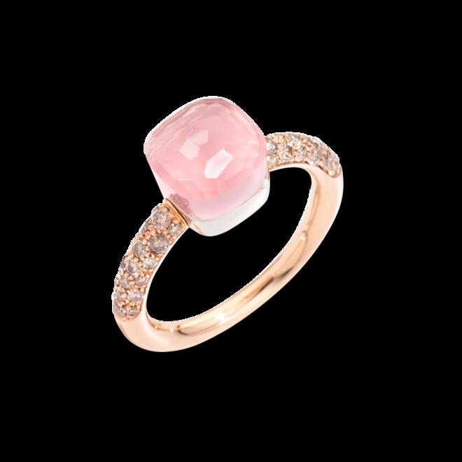 Ring Pomellato Nudo Petit Rosenquarz aus 750 Roségold und Weißgold mit 36 Diamanten (0,5 Karat) und mehreren Edelsteinen