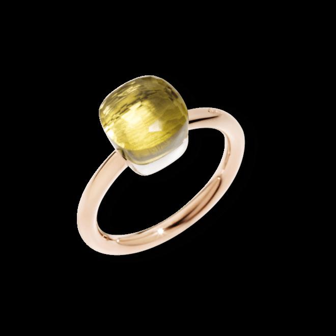 Ring Pomellato Nudo Petit Zitronenquarz aus 750 Roségold und 750 Weißgold mit 1 Zitronenquarz
