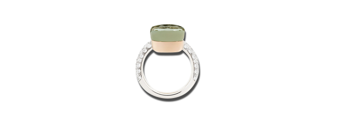 Ring Pomellato Nudo Prasiolith mit Brillanten aus 750 Weißgold und 750 Roségold mit 1 Prasiolith und mehreren Brillanten (0,73 Karat) bei Brogle
