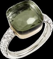 Ring Pomellato Nudo Prasiolith mit Brillanten aus 750 Weißgold und 750 Roségold mit 1 Prasiolith und mehreren Brillanten (0,73 Karat)