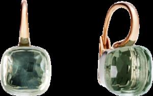 Ohrring Pomellato Nudo Prasiolith aus 750 Roségold und 750 Weißgold mit 2 Prasiolithen