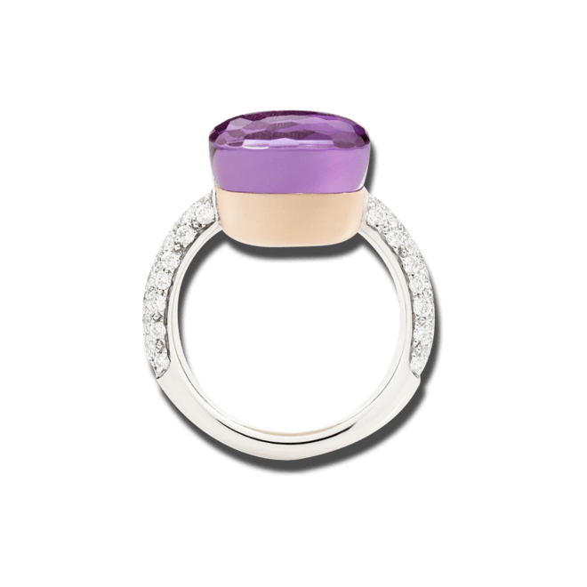 Ring Pomellato Nudo aus 750 Weißgold und 750 Roségold mit 1 Amethyst und mehreren Brillanten (0,73 Karat)