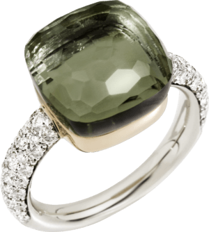 Ring Pomellato Nudo aus 750 Weißgold und 750 Roségold mit 1 Prasiolith und mehreren Brillanten (0,73 Karat)