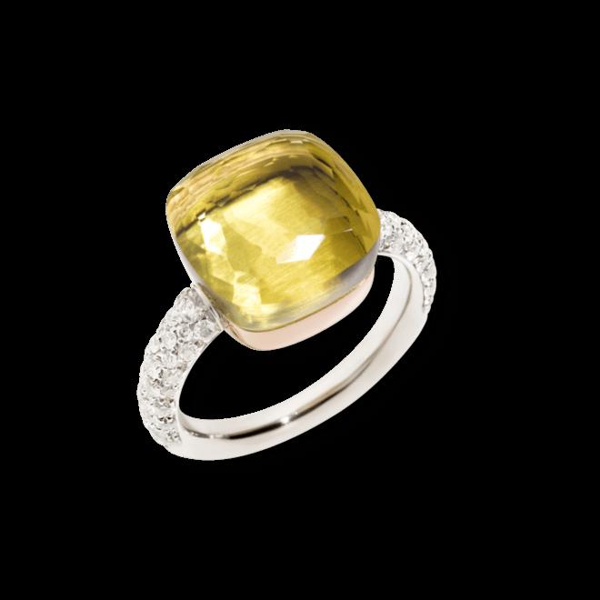 Ring Pomellato Nudo aus 750 Weißgold und 750 Roségold mit 1 Zitronenquarz und mehreren Brillanten (0,73 Karat)