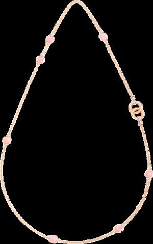 Halskette mit Anhänger Pomellato Nudo Rosenquarz aus 750 Roségold und Weißgold mit mehreren Edelsteinen