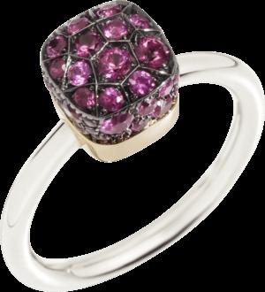 Ring Pomellato Nudo Rubies aus 750 Weißgold und 750 Roségold mit mehreren Rubinen