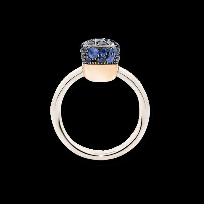 Ring Pomellato Nudo Sapphires aus 750 Weißgold und 750 Roségold mit mehreren Saphiren