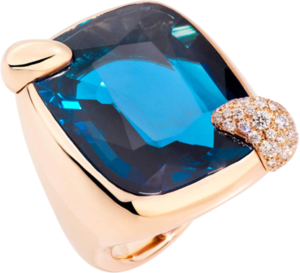 Ring Pomellato Ritratto aus 750 Roségold mit 1 London Topas und mehreren Diamanten (0,65 Karat)