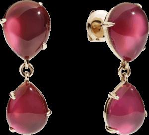 Ohrstecker Pomellato Rouge Passion aus 375 Roségold mit mehreren Edelsteinen