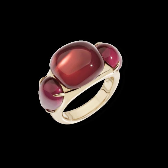 Ring Pomellato Rouge Passion aus 375 Roségold mit 3 Rubinen