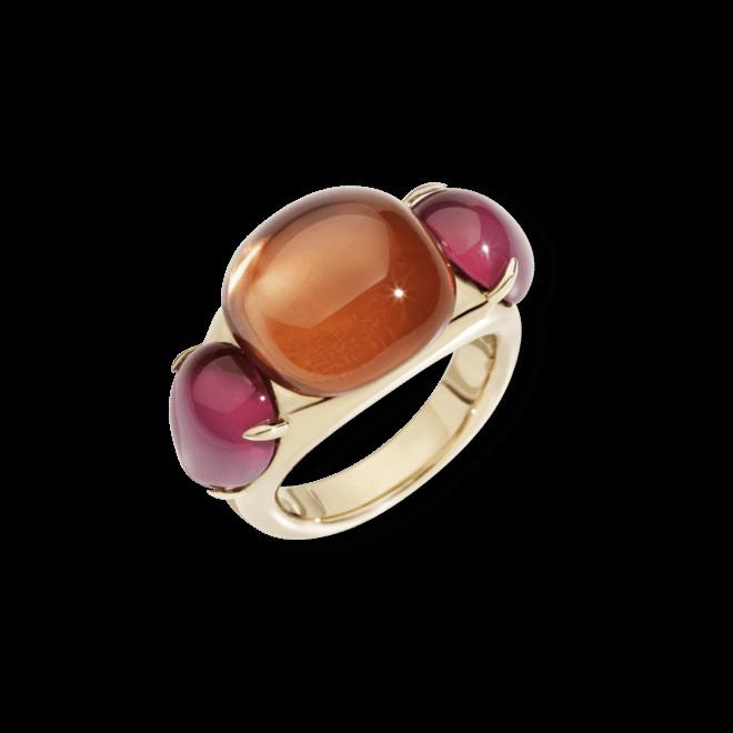 Ring Pomellato Rouge Passion aus 375 Roségold mit 1 Saphir und 2 Rubinen