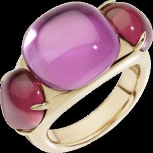 Ring Pomellato Rouge Passion aus 375 Roségold mit mehreren Edelsteinen