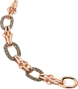 Armband Pomellato Sabbia aus 750 Roségold und 925 ionenbeschichtetes Silber mit mehreren Diamanten (5,96 Karat)