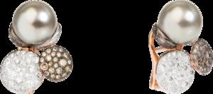 Ohrring Pomellato Sabbia aus 750 Roségold mit 2 Tahiti-Perlen und 150 Diamanten (2 x 0,95 Karat)