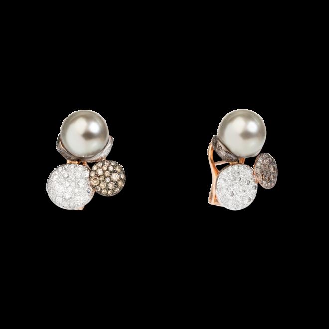 Ohrring Pomellato Sabbia aus 750 Roségold mit 2 Tahiti-Perlen und 150 Diamanten (2 x 0,95 Karat) bei Brogle