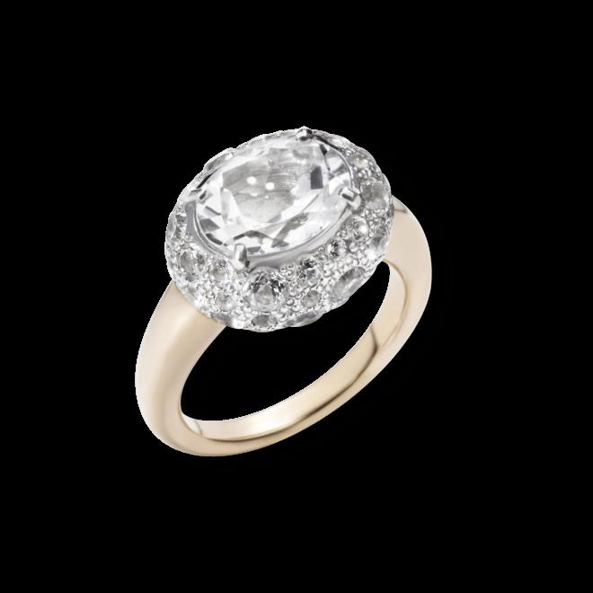 Ring Pomellato Tabou aus 750 Roségold und 925 Sterlingsilber mit 1 Topas und mehreren Topasen