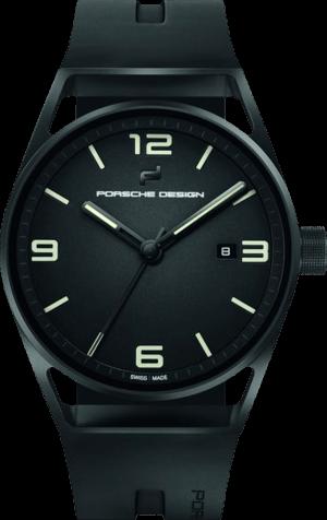 Herrenuhr Porsche Design 1919 Datetimer Eternity Black Edition Automatik 42mm mit schwarzem Zifferblatt und Kautschukarmband