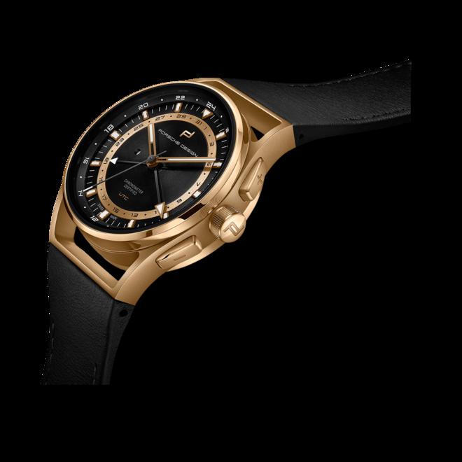 Herrenuhr Porsche Design 1919 Globetimer UTC Gold Edition 42mm mit schwarzem Zifferblatt und Kalbsleder-Armband bei Brogle