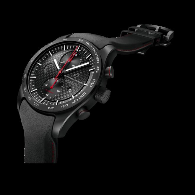 Herrenuhr Porsche Design Chronotimer Series 1 Flyback Guards Red mit schwarzem Zifferblatt und Kalbsleder-Armband bei Brogle