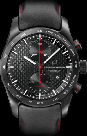Herrenuhr Porsche Design Chronotimer Series 1 Flyback Guards Red mit schwarzem Zifferblatt und Kalbsleder-Armband