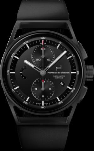 Herrenuhr Porsche Design Sport Chrono 42mm mit schwarzem Zifferblatt und Kalbsleder-Armband