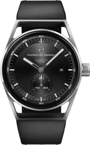 Herrenuhr Porsche Design Sport Chrono Subsecond 39mm mit schwarzem Zifferblatt und Kalbsleder-Armband