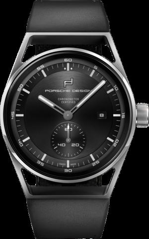 Herrenuhr Porsche Design Sport Chrono Subsecond 42mm mit schwarzem Zifferblatt und Kalbsleder-Armband