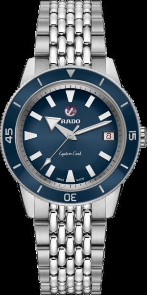 Damenuhr Rado Captain Cook Automatic 37mm mit blauem Zifferblatt und Edelstahlarmband