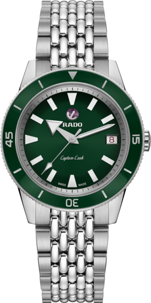 Damenuhr Rado Captain Cook Automatic 37mm mit grünem Zifferblatt und Edelstahlarmband