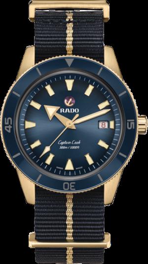Herrenuhr Rado Captain Cook Automatic 42mm mit blauem Zifferblatt und Textilarmband