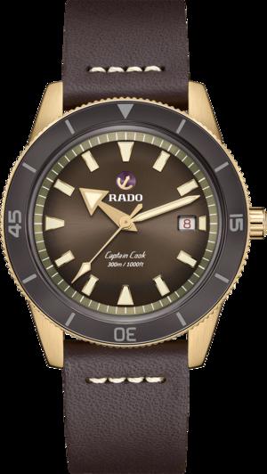 Herrenuhr Rado Captain Cook Automatic 42mm mit braunem Zifferblatt und Kalbsleder-Armband