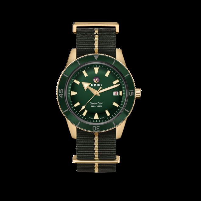 Herrenuhr Rado Captain Cook Automatic 42mm mit grünem Zifferblatt und Textilarmband bei Brogle