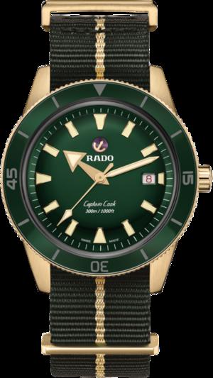 Herrenuhr Rado Captain Cook Automatic 42mm mit grünem Zifferblatt und Textilarmband
