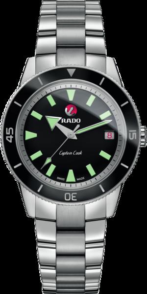 Armbanduhr Rado Captain Cook Automatic mit schwarzem Zifferblatt und Edelstahlarmband