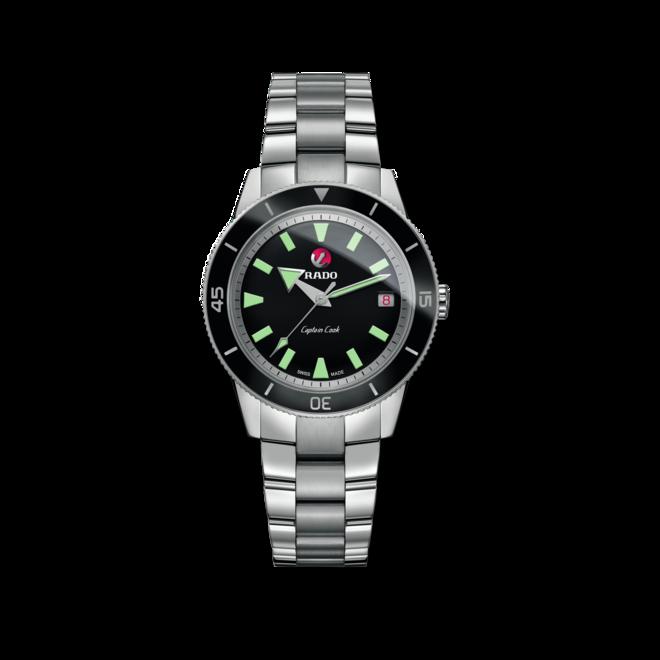 Armbanduhr Rado Captain Cook Automatic mit schwarzem Zifferblatt und Edelstahlarmband bei Brogle