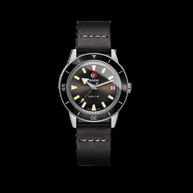 Herrenuhr Rado Captain Cook Automatic mit schwarzem Zifferblatt und Kalbsleder-Armband bei Brogle