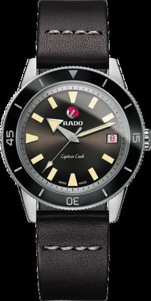 Herrenuhr Rado Captain Cook Automatic mit schwarzem Zifferblatt und Kalbsleder-Armband