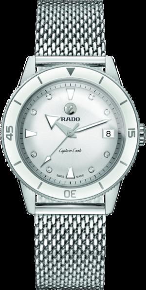 Damenuhr Rado Captain Cook Automatic mit Diamanten, silberfarbenem Zifferblatt und Edelstahlarmband