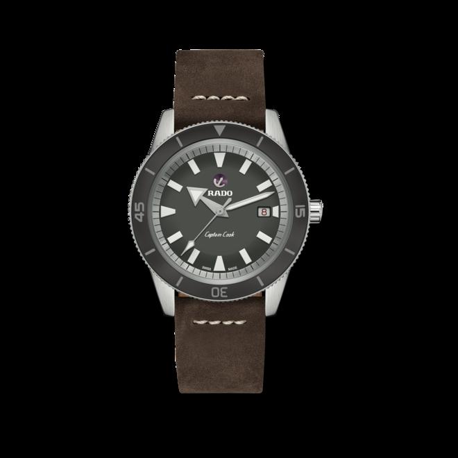 Herrenuhr Rado Captain Cook Automatik 42mm mit grauem Zifferblatt und Kalbsleder-Armband bei Brogle
