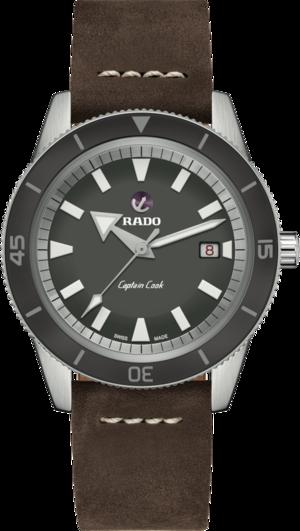 Herrenuhr Rado Captain Cook Automatik 42mm mit grauem Zifferblatt und Kalbsleder-Armband