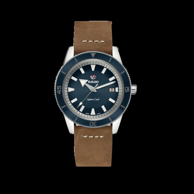 Herrenuhr Rado Captain Cook Automatik 42mm mit blauem Zifferblatt und Kalbsleder-Armband bei Brogle