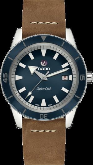 Herrenuhr Rado Captain Cook Automatik 42mm mit blauem Zifferblatt und Kalbsleder-Armband