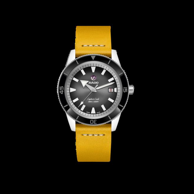 Uhren-Armband Rado Gelbes Lederband für die Captain Cook Automatic 42mm Uhren-Armband mit Dornschließe bei Brogle