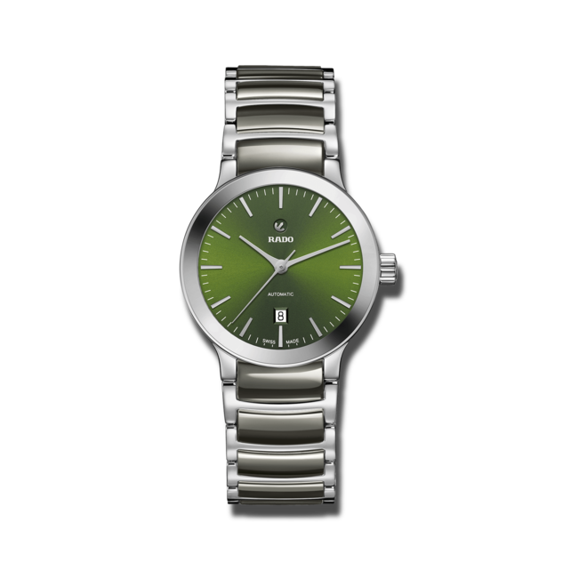 Damenuhr Rado Centrix Automatic 28mm mit grünem Zifferblatt und Edelstahlarmband bei Brogle