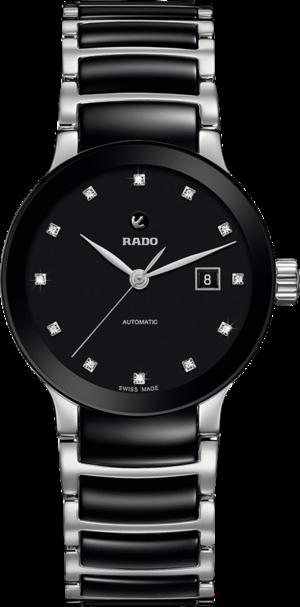 Damenuhr Rado Centrix Automatik 28mm mit Diamanten, schwarzem Zifferblatt und Keramikarmband