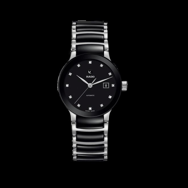 Damenuhr Rado Centrix Automatik 28mm mit Diamanten, schwarzem Zifferblatt und Keramikarmband bei Brogle