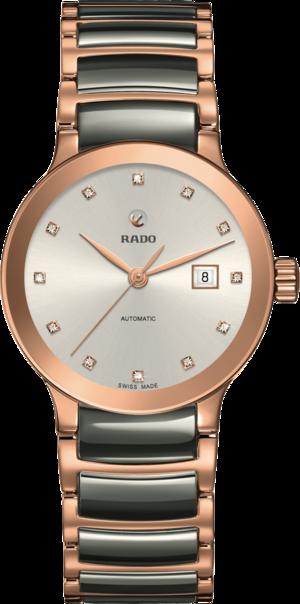 Damenuhr Rado Centrix Automatik 28mm mit Diamanten, silberfarbenem Zifferblatt und Edelstahlarmband