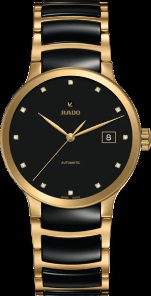 Damenuhr Rado Centrix Automatik 38mm mit Diamanten, schwarzem Zifferblatt und Edelstahlarmband